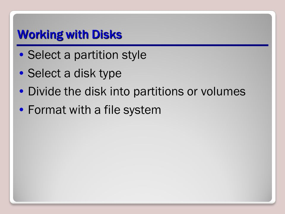 Select a partition style Select a disk type