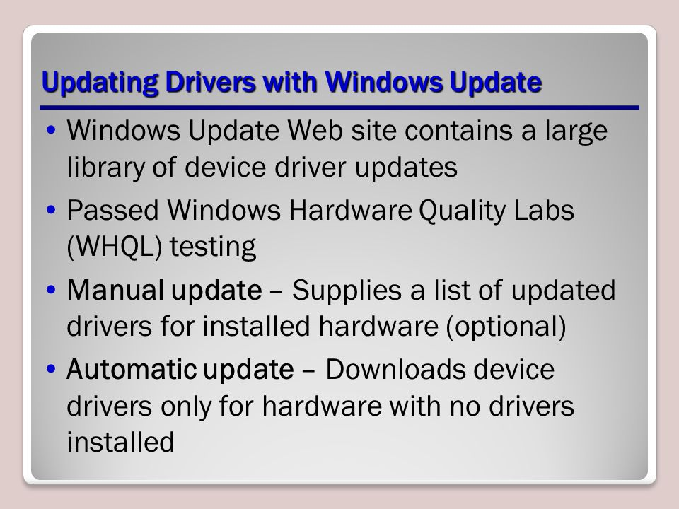 Updating Drivers with Windows Update