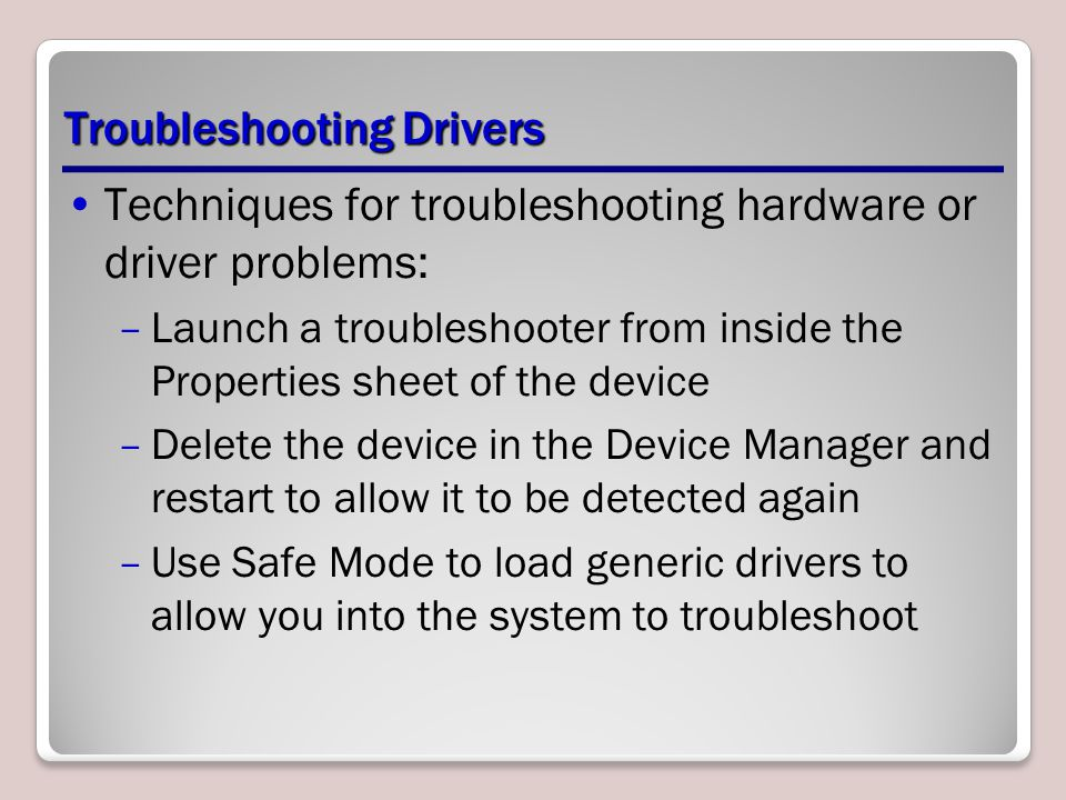 Troubleshooting Drivers