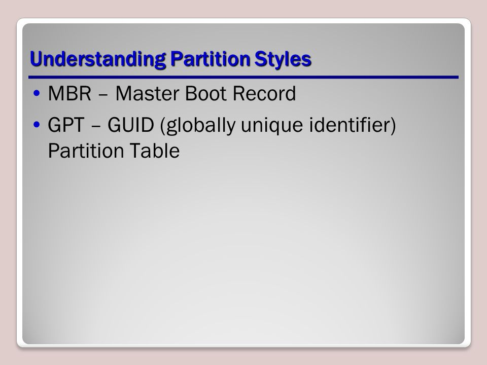 Understanding Partition Styles