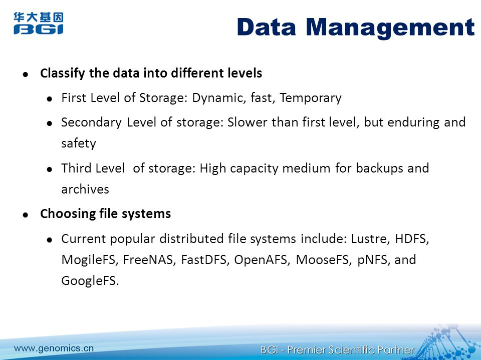 Data Management Classify the data into different levels
