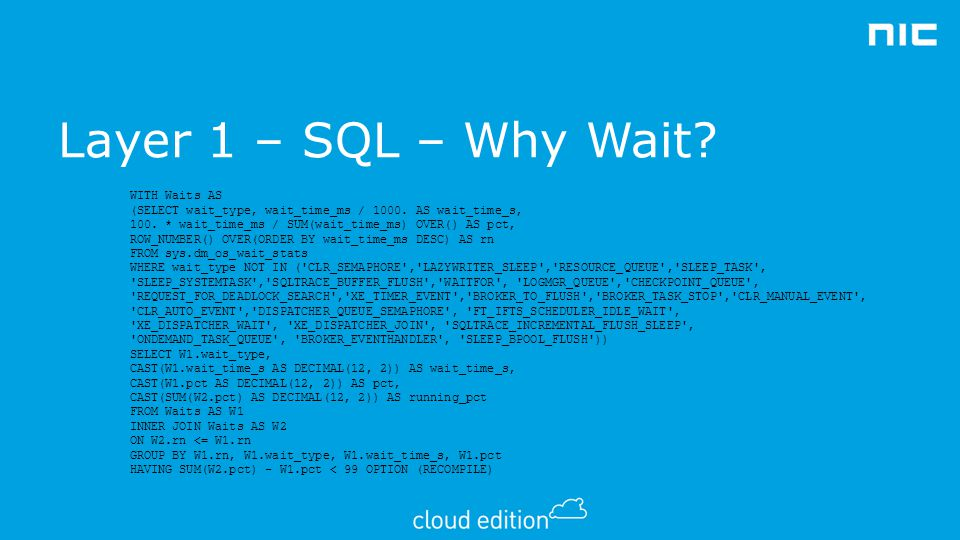 Layer 1 – SQL – Why Wait