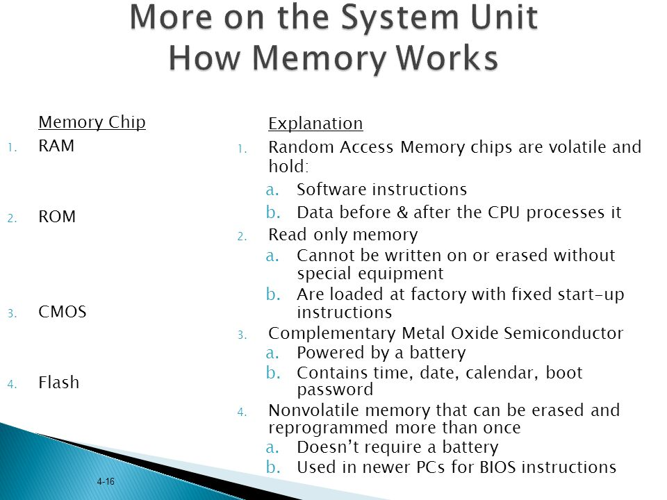 More on the System Unit How Memory Works