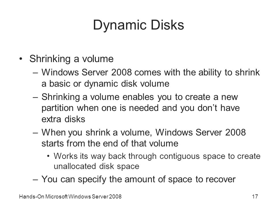 Dynamic Disks Shrinking a volume