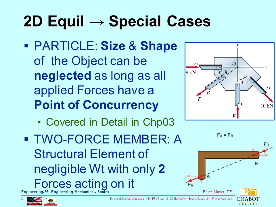 2D Equil → Special Cases PARTICLE: Size & Shape of the Object can be neglected as long as all applied Forces have a Point of Concurrency.