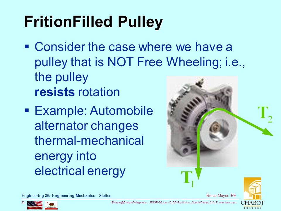 FritionFilled Pulley Consider the case where we have a pulley that is NOT Free Wheeling; i.e., the pulley resists rotation.