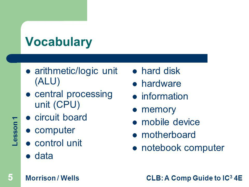Vocabulary arithmetic/logic unit (ALU) central processing unit (CPU)