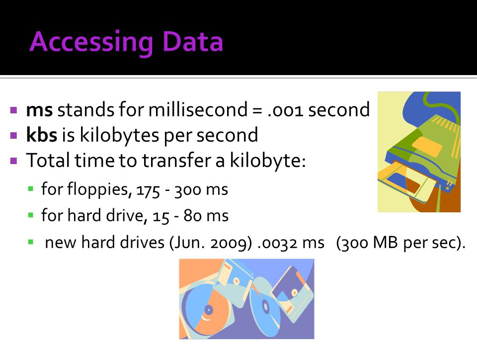 Accessing Data ms stands for millisecond = .001 second