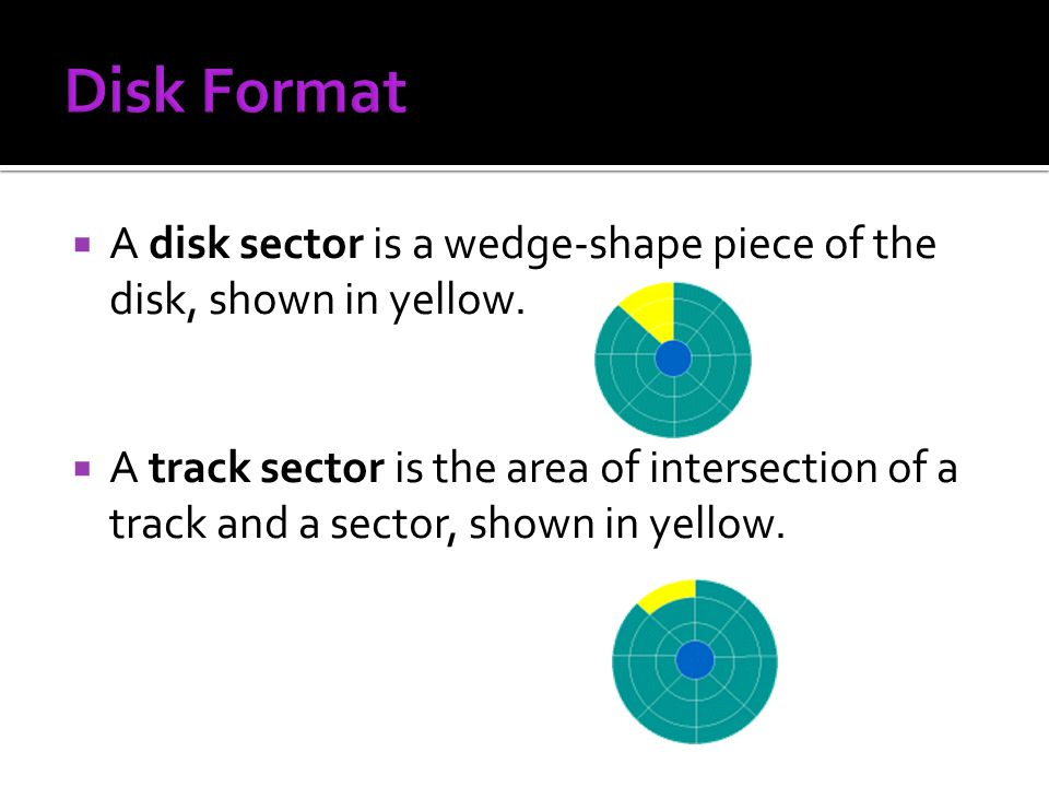 Disk Format A disk sector is a wedge-shape piece of the disk, shown in yellow.