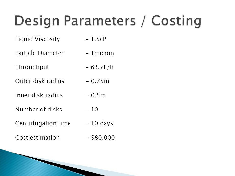 Design Parameters / Costing