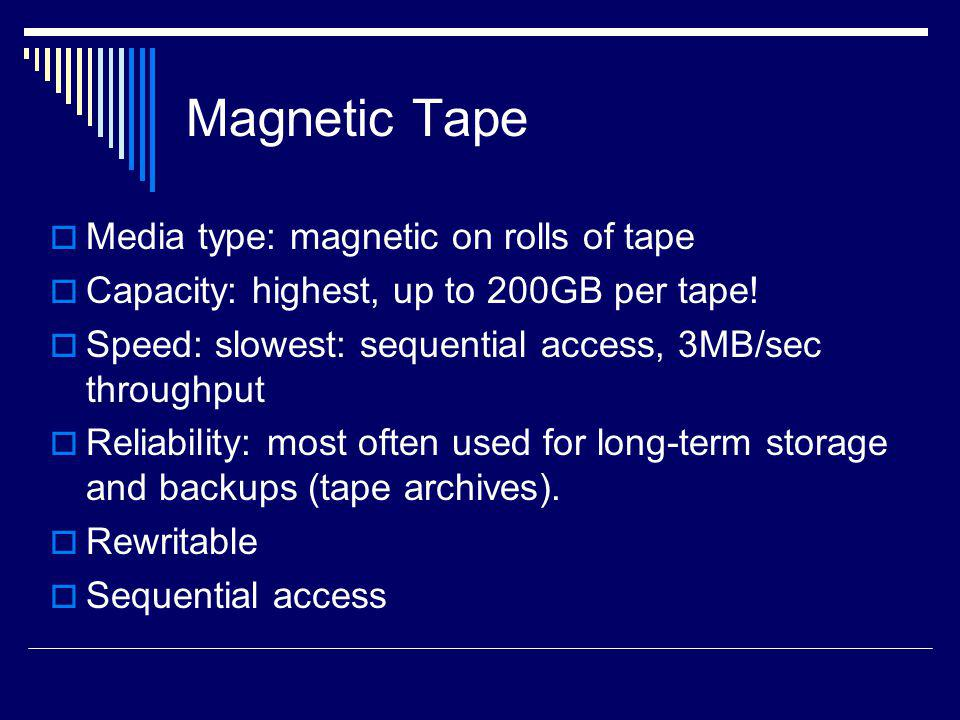 Magnetic Tape Media type: magnetic on rolls of tape