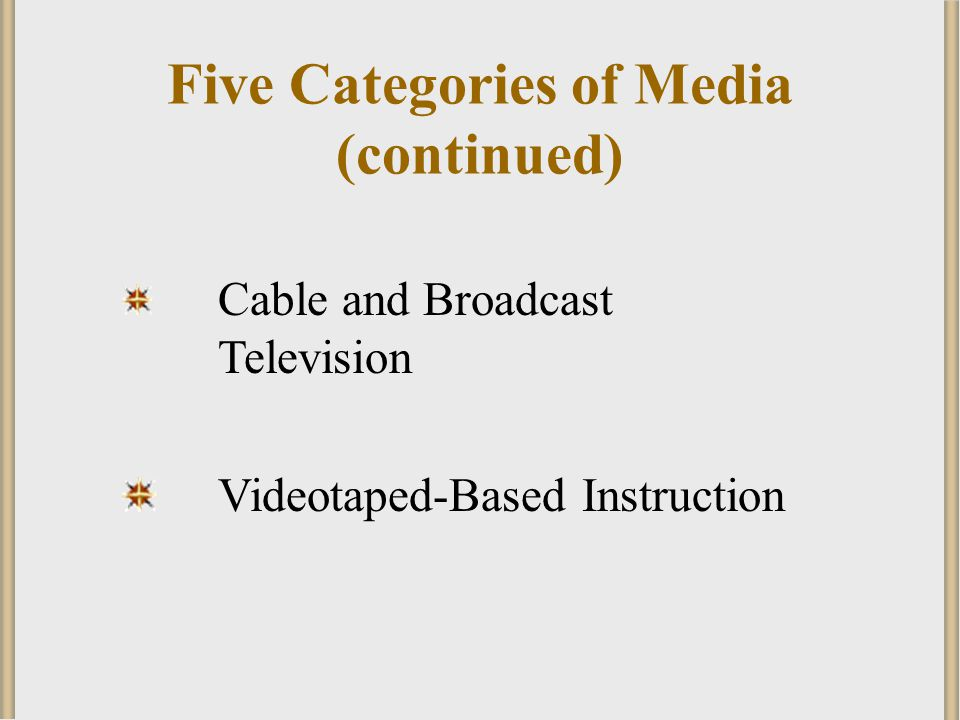 Five Categories of Media (continued)