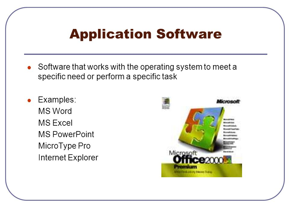 Application Software Software that works with the operating system to meet a specific need or perform a specific task.