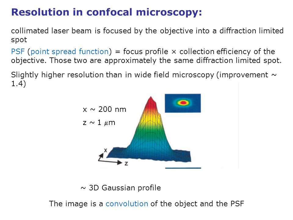 Resolution in confocal microscopy: