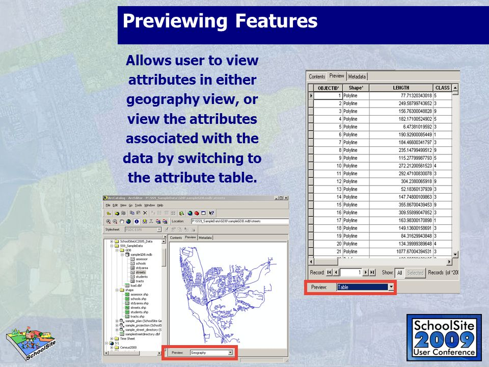 Previewing Features Allows user to view attributes in either