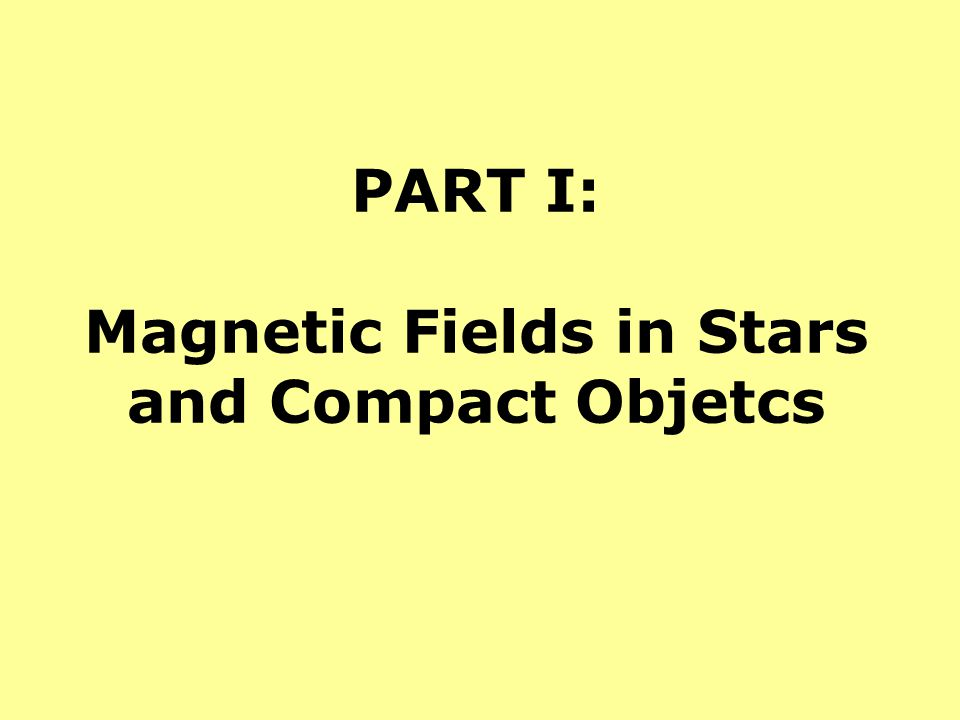 PART I: Magnetic Fields in Stars and Compact Objetcs