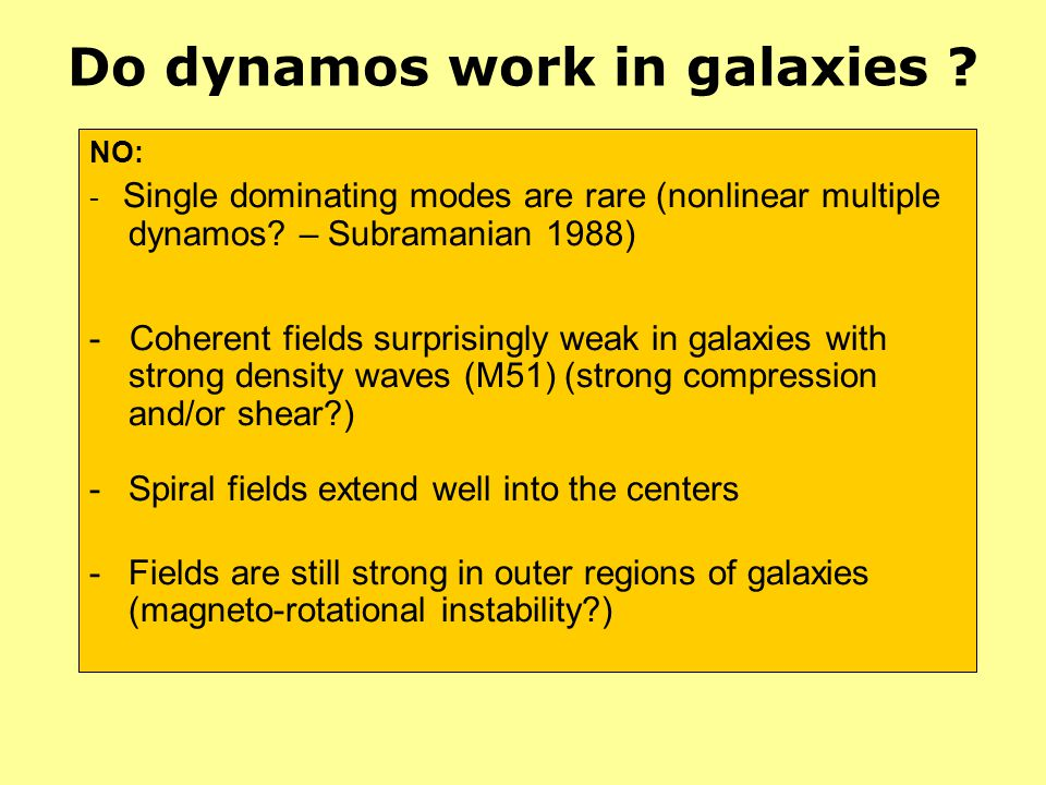 Do dynamos work in galaxies