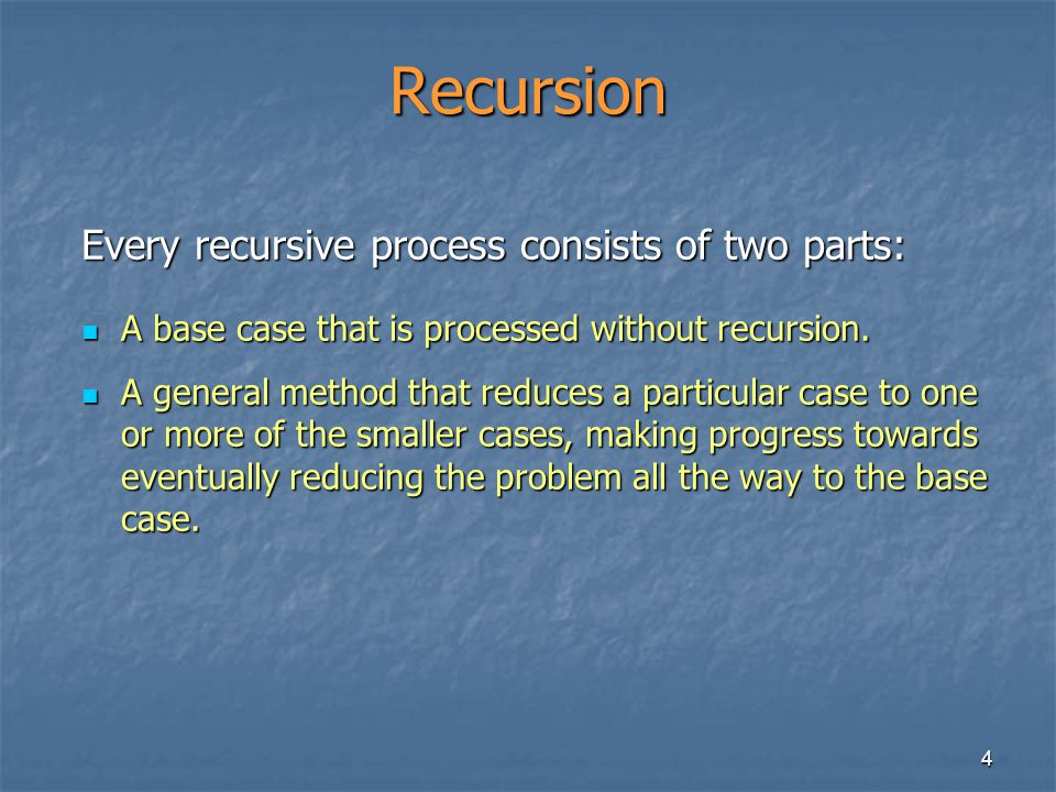 Recursion Every recursive process consists of two parts: