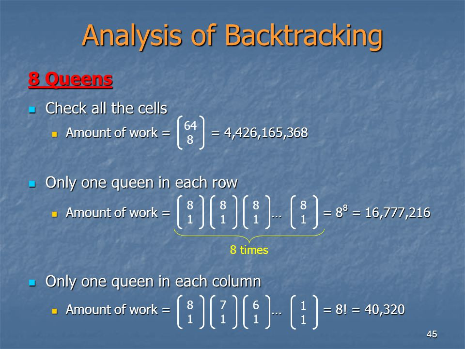 Analysis of Backtracking
