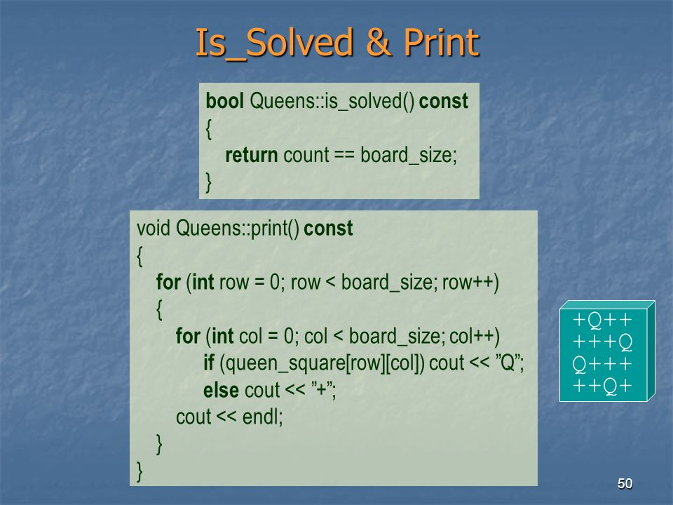 Is_Solved & Print +Q++ +++Q Q+++ ++Q+ bool Queens::is_solved() const {