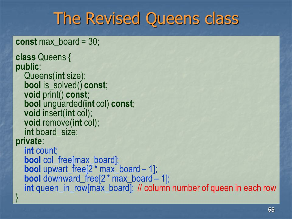 The Revised Queens class