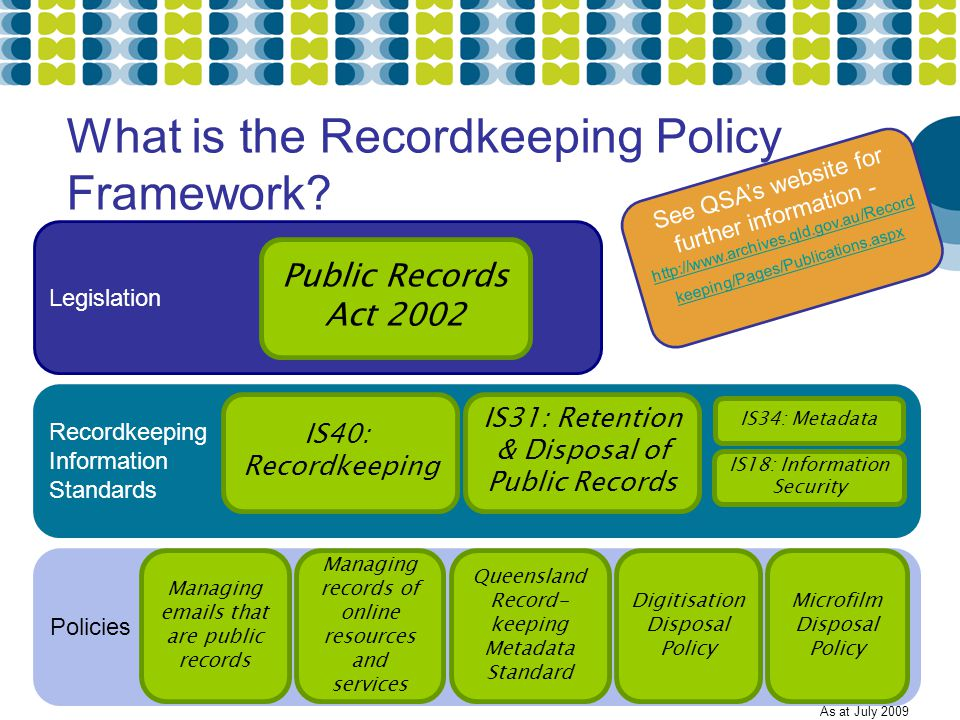 What is the Recordkeeping Policy Framework