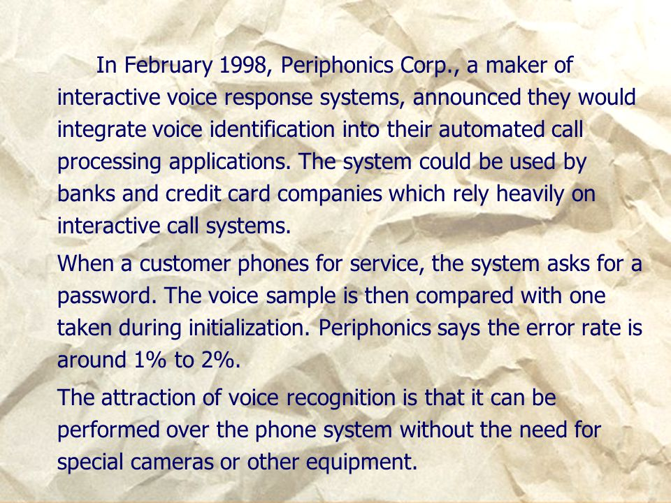 In February 1998, Periphonics Corp