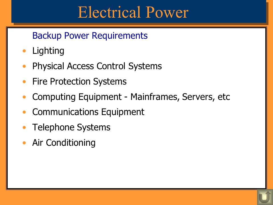 Electrical Power Backup Power Requirements Lighting