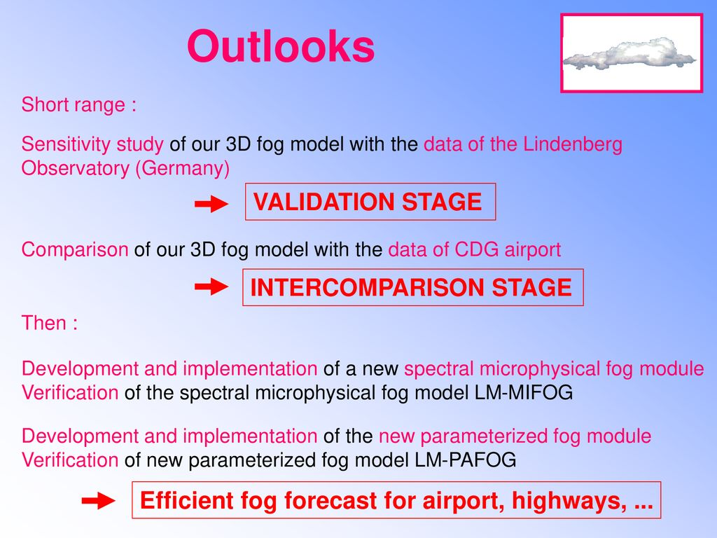 Outlooks VALIDATION STAGE INTERCOMPARISON STAGE