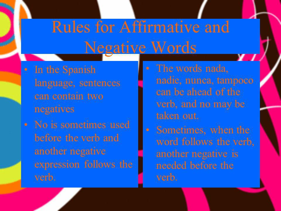 Rules for Affirmative and Negative Words