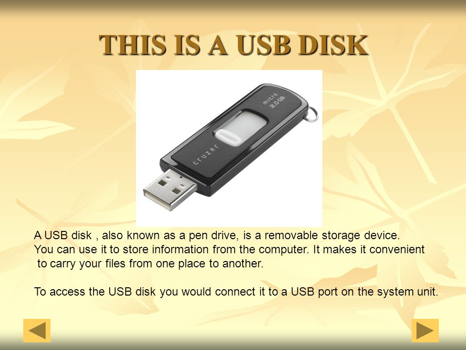 THIS IS A USB DISK A USB disk , also known as a pen drive, is a removable storage device.
