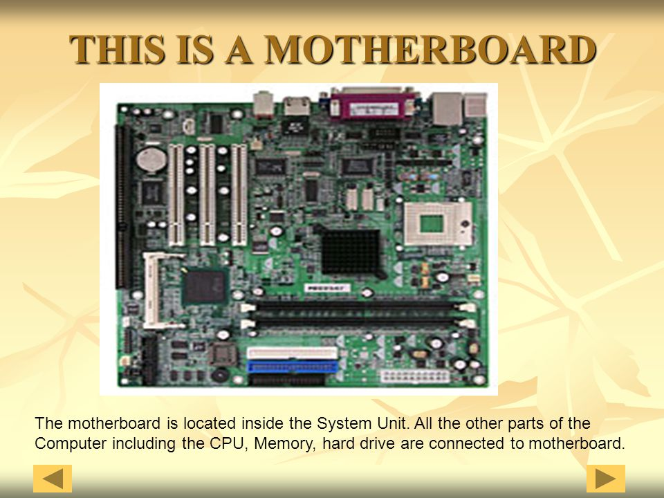 THIS IS A MOTHERBOARD The motherboard is located inside the System Unit. All the other parts of the.