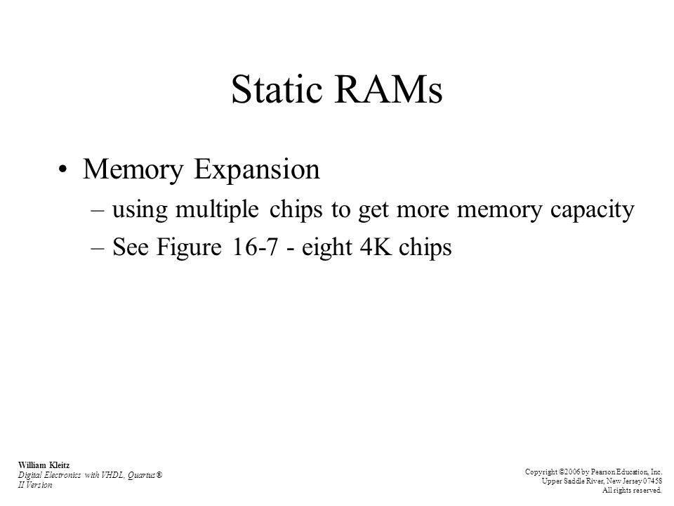 Static RAMs Memory Expansion
