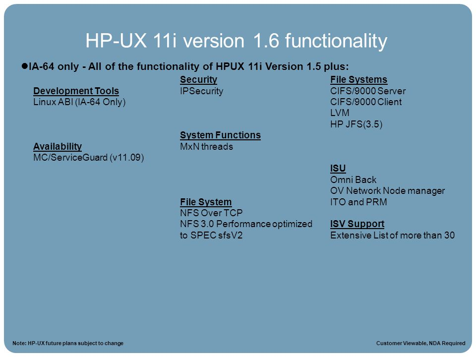 HP-UX 11i version 1.6 functionality
