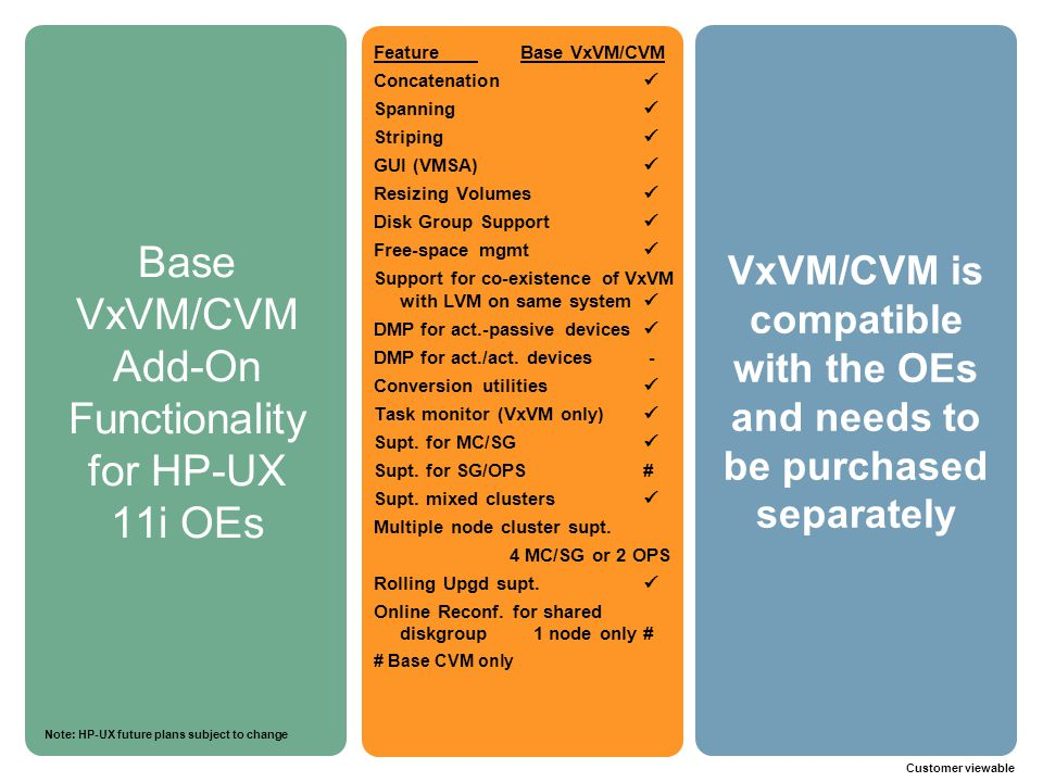 Base VxVM/CVM Add-On Functionality for HP-UX 11i OEs