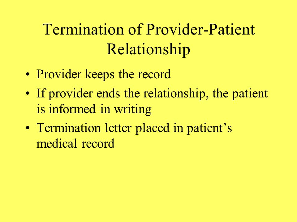 Termination of Provider-Patient Relationship