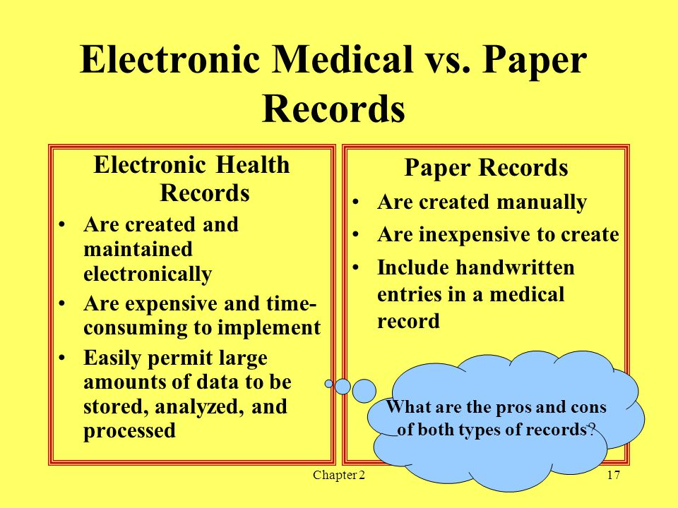 Electronic Medical vs. Paper Records