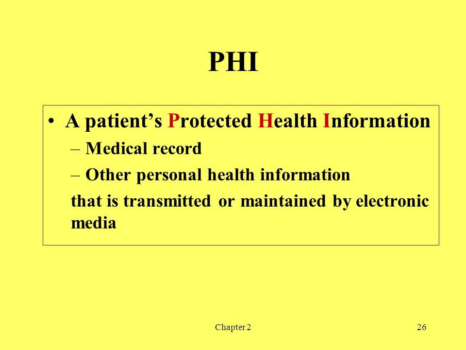 PHI A patient's Protected Health Information Medical record