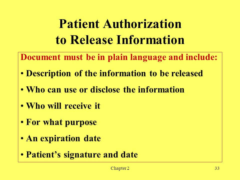 Patient Authorization to Release Information