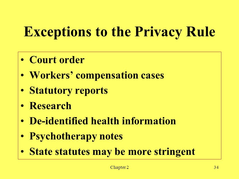 Exceptions to the Privacy Rule