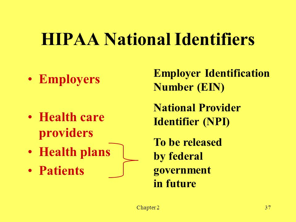HIPAA National Identifiers