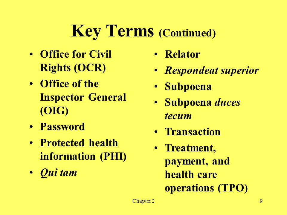 Key Terms (Continued) Office for Civil Rights (OCR)