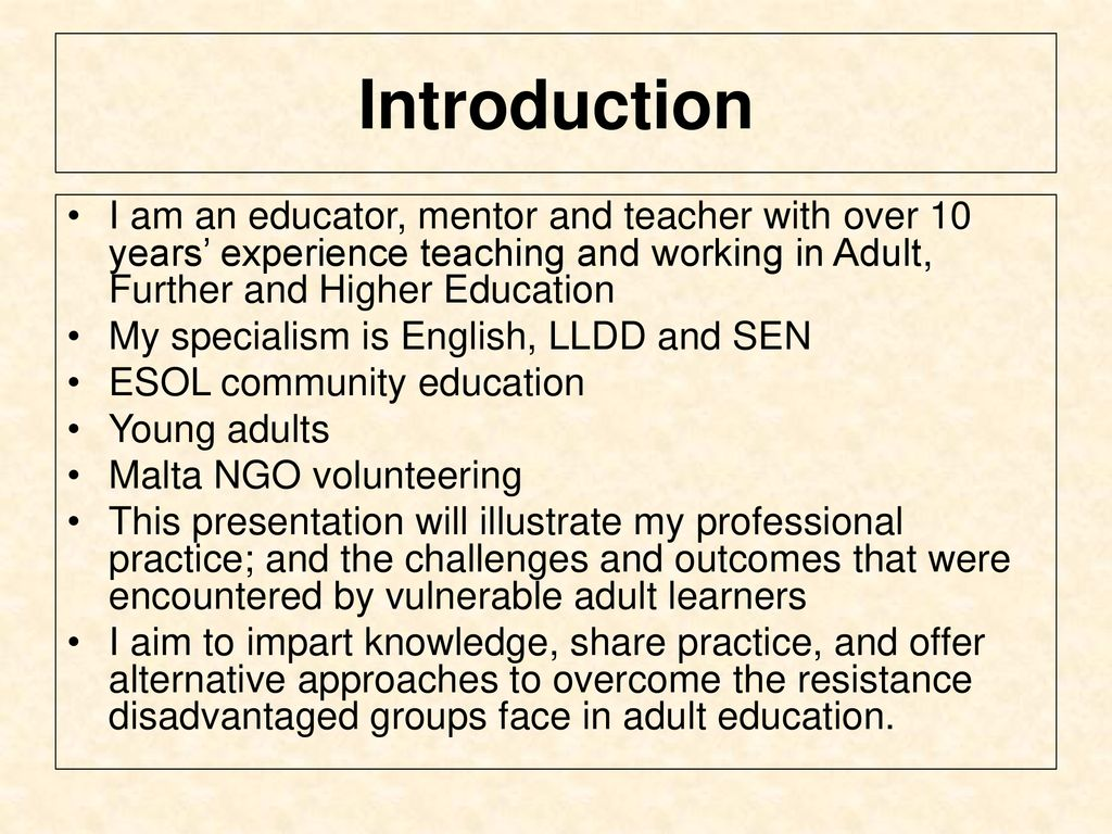 Adult and further education