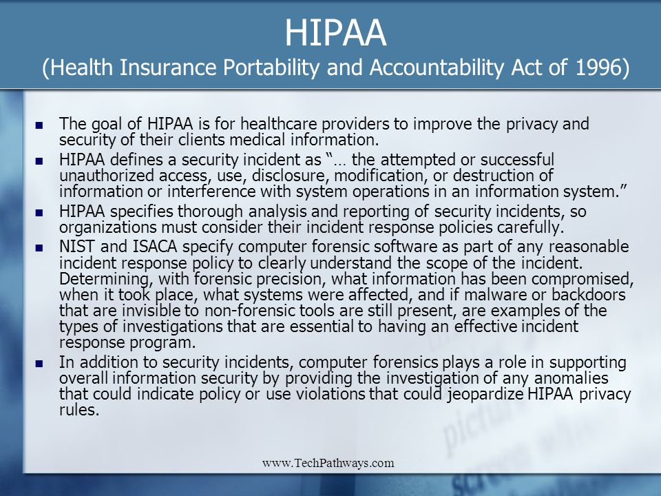 HIPAA (Health Insurance Portability and Accountability Act of 1996)