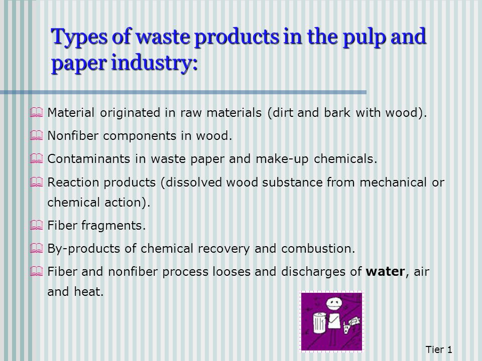 Types of waste products in the pulp and paper industry: