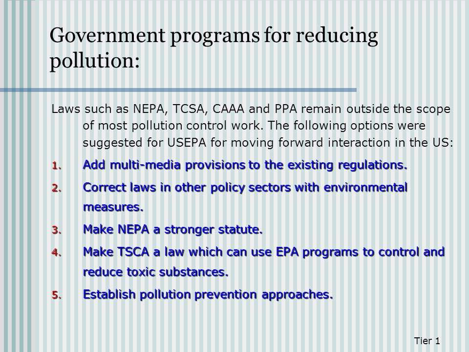Government programs for reducing pollution: