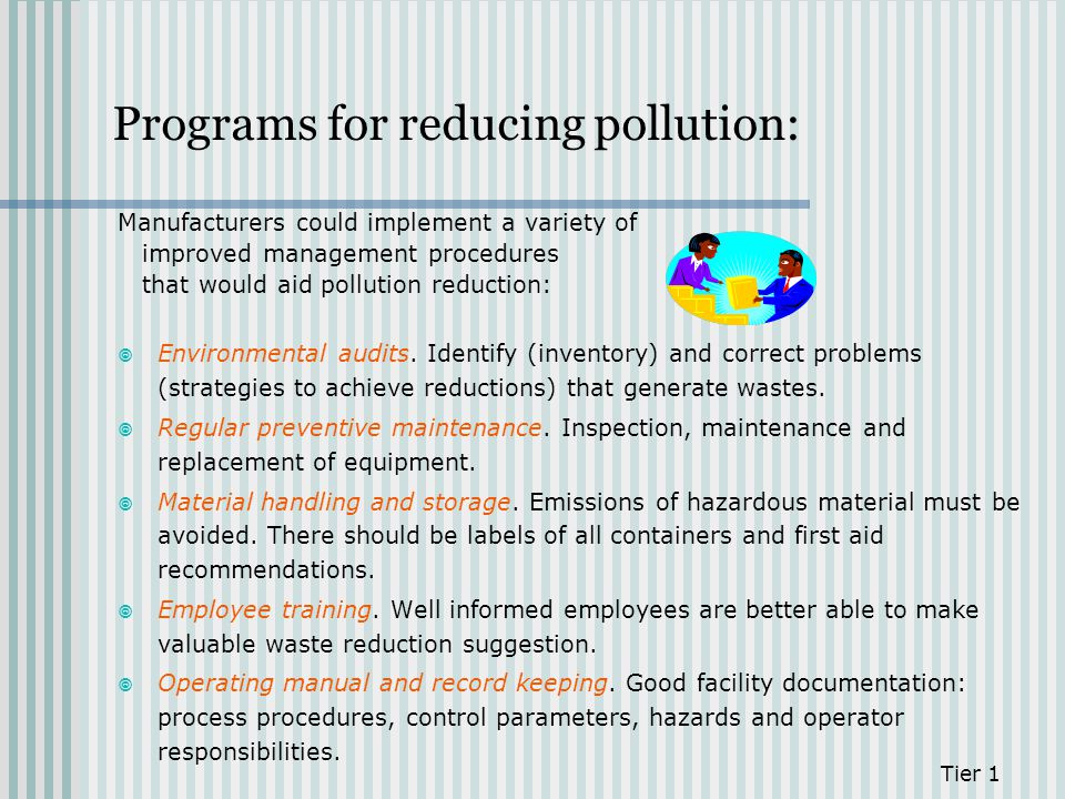 Programs for reducing pollution: