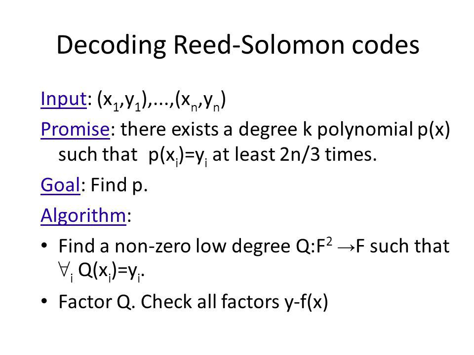 Decoding Reed-Solomon codes