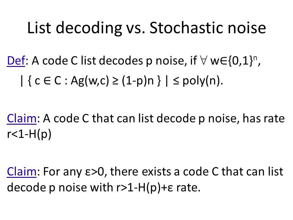 List decoding vs. Stochastic noise