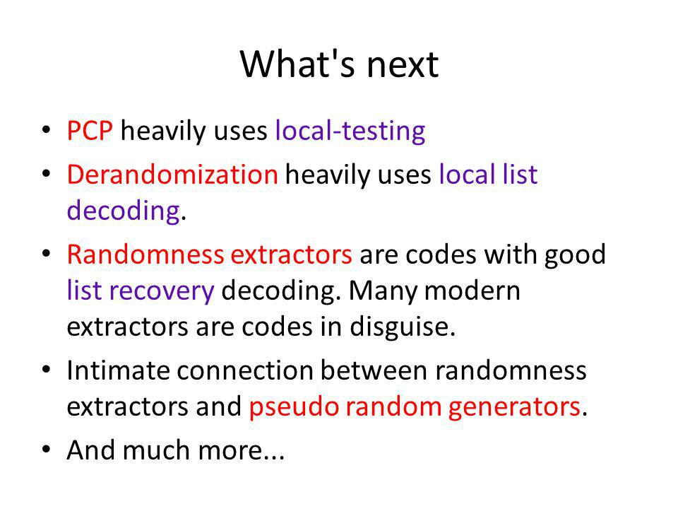 What s next PCP heavily uses local-testing